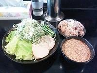「廣島つけ麺(麺大つけ汁ごまだれ辛さ3)+から揚げセット」@廣島つけ麺本舗 ばくだん屋 本店の写真