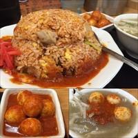 「チンピラチャーハン750円(味噌スープ)チンピラ玉子150円」@味噌麺処 花道の写真