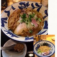 「軍鶏そば大盛り➕替え竹」@つけ麺 たけもとの写真