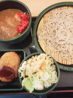 「朝食カレー丼(冷)\360+コロッケ(クーポン)」@ゆで太郎 錦糸公園前店の写真