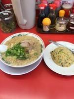 「焼きめし定食(特製醤油ラーメン➕麺固め➕背脂多め➕半チャーハ」@ラーメン魁力屋 東千葉店の写真