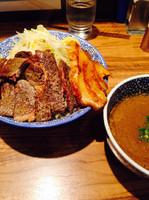 「つけ麺中盛➕ミニステーキ」@ラーメン燈郎の写真