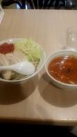 「トマト味噌つけ麺(大盛)+チーズごはん」@らーめん カッパハウスの写真
