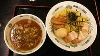 「和風つけ麺(あつもり)+味付玉子」@日高屋 両国東口店の写真