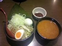 「北海道味噌 辛みそつけ麺(太麺)+辛味噌+煮卵(クーポン)」@蔵出し味噌 麺場千代商店の写真