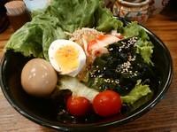 「冷やしサラダ麺(並盛・150g)780円」@博多ラーメン 八番山ばりきや 藤岡店の写真