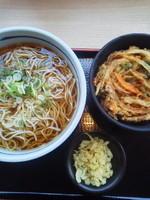「かき揚げ丼セット(温・大盛無料)\520」@吉そば 代々木店の写真