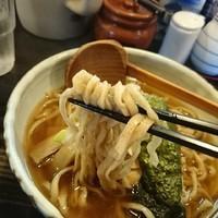 「中華そば大盛、全粒粉麺平打ち」@中華そば 花菱の写真