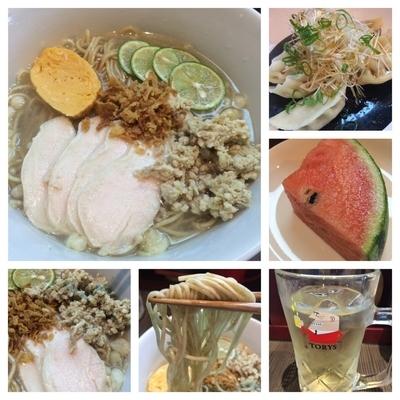 「期間限定  鶏とすだちの冷やしそば    900円+水餃子」@柳麺 呉田-goden-の写真