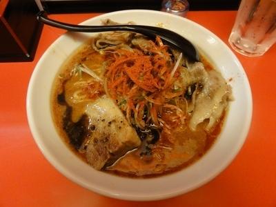 「辛口ガチ味噌肉ソバ(LV2)」@辛口肉ソバ ひるドラ 日本橋店の写真