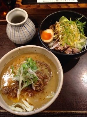 「ハーフ&ハーフ(坦々麺&油そば)」@麺屋 無尽蔵の写真
