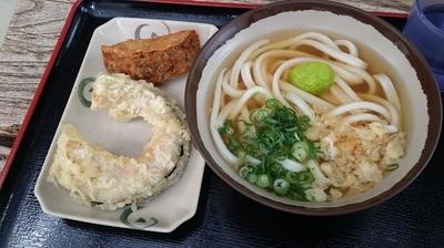 「かけうどんの小、かぼちゃ天、ギョロッケ」@池上製麺所の写真