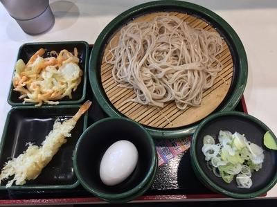 「朝そば・玉子+海老天(¥330+無料クーポン)」@ゆで太郎 関内ベイスターズ通り店の写真