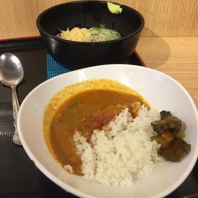 「冷し朝定食カレー(¥390)」@よもだそば 銀座店の写真