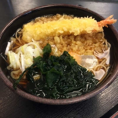「たぬき(¥350)+玉子(¥60)+海老天(クーポン)」@ゆで太郎 平和島店の写真