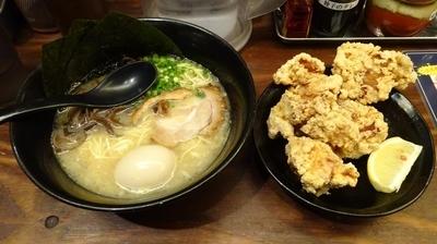 「特製極味(850円)+名物大分からあげ(480円)」@麺屋 侍の写真