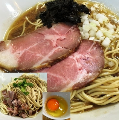 「煮干ソバ(醤油)+和え玉+生卵」@煮干中華ソバ イチカワの写真