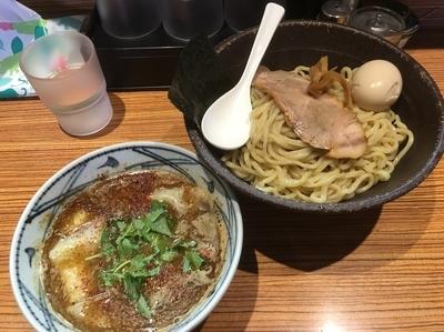 「ワンタンつけ麺 1000円 サービスタイム味玉」@中華そば こがね屋の写真