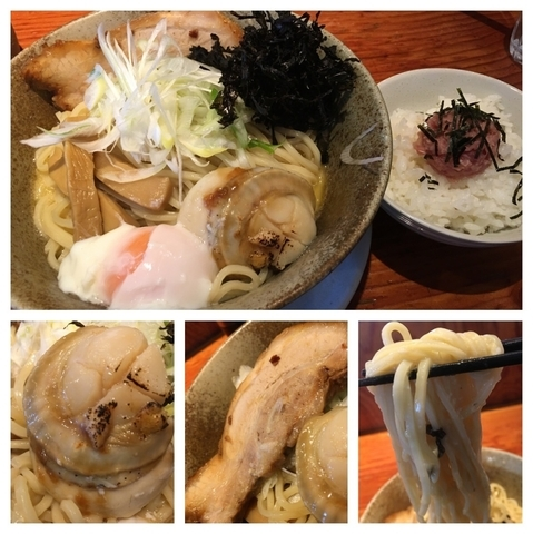「期間限定 帆立を載せた味噌チーズ和え麺 810円+マグロたたきご」@麺や 来味の写真