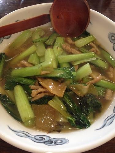 「ザーサイと小松菜のそば」@ラーメン創作麺処 めん坊の写真