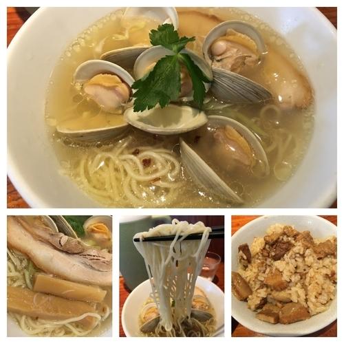 「期間限定 白はまぐり塩らぁ麺+チャーシューまぜご飯」@麺や 来味の写真