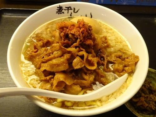 「スタミナ豚肉そば(880円)+味玉(100円)」@つけめん らーめん 青樹 立川店の写真