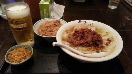 「(たちスピ限定)スタミナ豚肉そば+煮干しご飯+他」@つけめん らーめん 青樹 立川店の写真