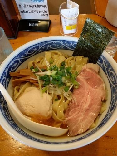 「冷し煮干平打ち麺(750円)」@中華そば 田家 本店の写真