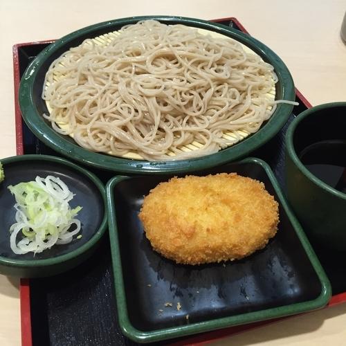 「もり(¥320)+コロッケ(クーポン)」@ゆで太郎 伊勢佐木長者町店の写真