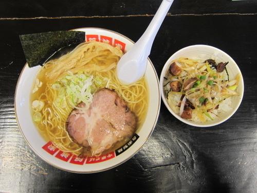 「Aランチ(塩ラーメン大盛+ねぎチャーシュー丼) 850円」@阿波家 信州始店の写真