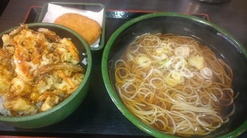 「牡蠣と蓮根のかき揚げ丼セット+コロッケ(クーポン使用)」@ゆで太郎 本所吾妻橋店の写真