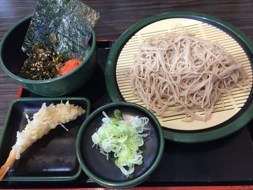 「朝定食・高菜明太ごはん+海老天(¥360+無料クーポン)」@ゆで太郎 横浜岡野店の写真