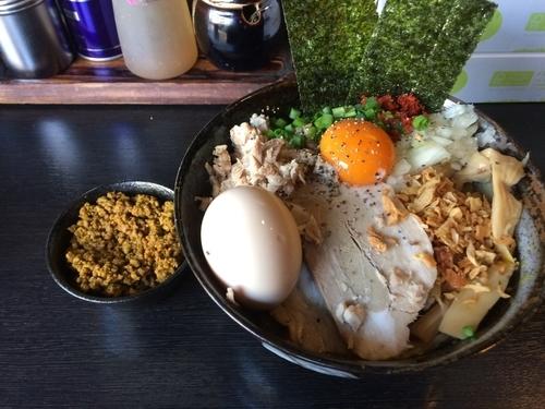「かれーまぜそば+特製+キーマ」@二代目狼煙 本店 葉隠製麺の写真