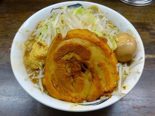 「雷そば:大(780円)+半熟味玉(100円)ニンニク」@雷 本店の写真