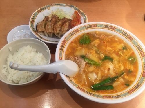 「スタミナラーメン+焼き餃子セット」@天理スタミナラーメン 針テラス店の写真
