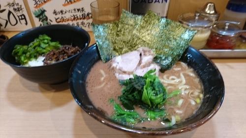 「ラーメン(並)+ライス(無料) ¥ 650」@横浜家系らーめん 武道家 賢斗の写真