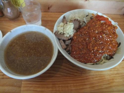 「オロチョンつけ麺中盛700円(トッピング全部)」@にかいやの写真