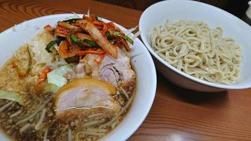 「つけ麺+タマネギキムチ ¥ 930」@ラーメン二郎 亀戸店の写真