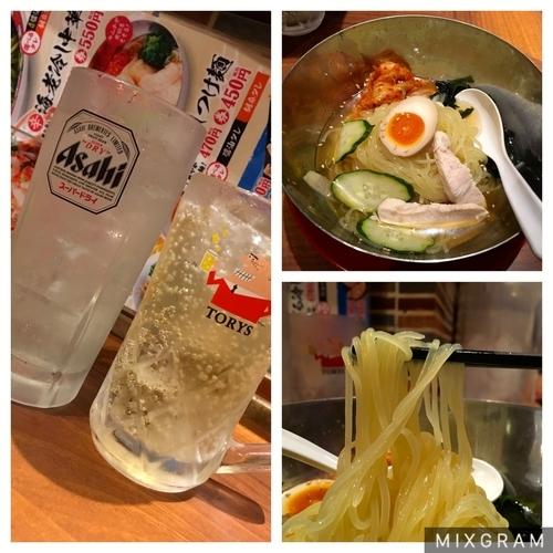 「トリスハイボール+レモンサワー+盛岡スープ冷麺」@中華食堂 一番館 中野サンモール店の写真