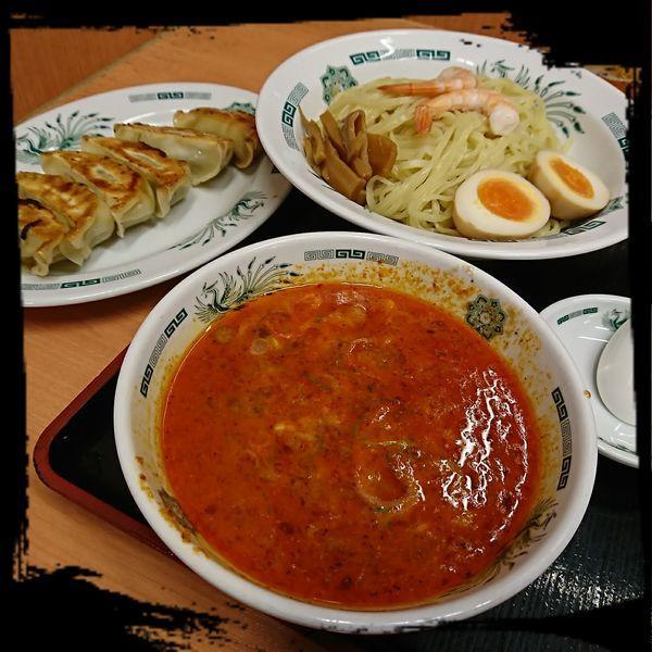 「エビ辛とんこつつけ麺 餃子セット 770えん」@日高屋 さいたま新都心店の写真