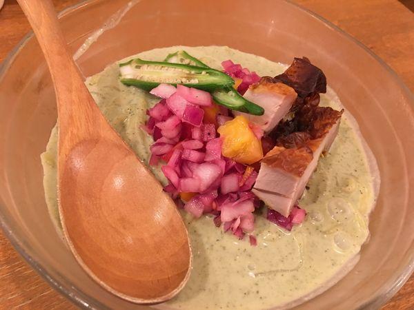 「冷やしグリーンカレー麺 1000円 豆ごはん 50円」@鶏ポタラーメン THANK お茶の水の写真