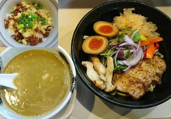 「【限定】シーフードグリーンカレーつけめん+ライス=¥1000」@麺屋 扇 SENの写真