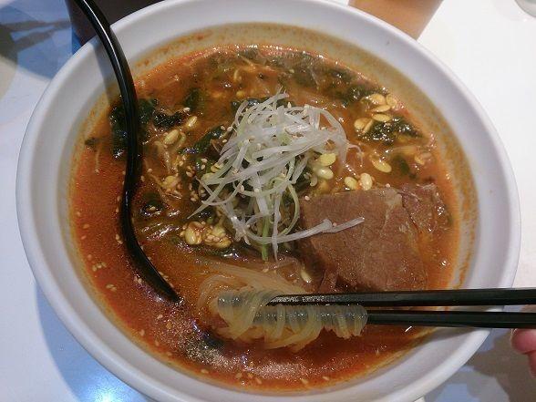 「ポッサムユッケジャン麺」@パンチャンとジョン エキュート赤羽店の写真
