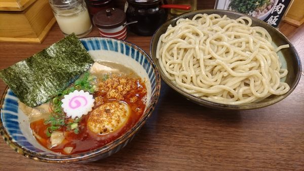 「辛搾り(中・あつもり)+味玉(クーポン)」@つけめん 三三㐂の写真