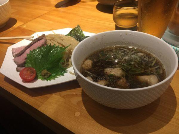 「つけ麺 姫路 ホルモントッピング 温」@姫路麺哲の写真