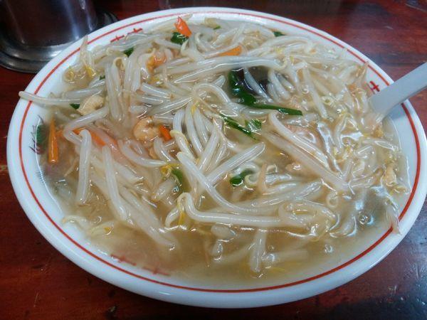 「豆芽麺 トゥーヤメン(モヤシあんかけ塩そば)」@漫々亭の写真