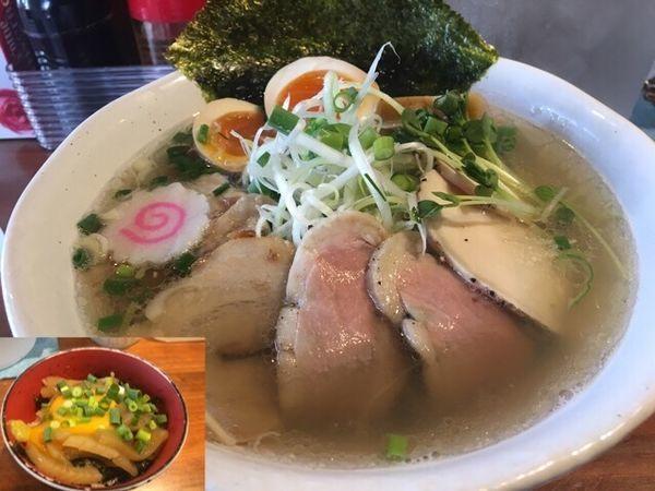 「【限定】秋イカの塩ラーメン(special V )、沖漬け丼」@らーめん・つけめん 八角の写真
