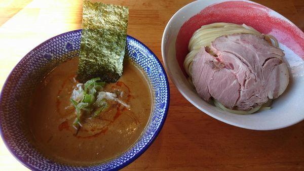 「【限定】坦々つけ麺900円+レアチャーシュー120円」@麺処 門つるの写真