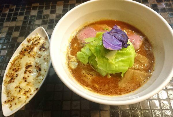 「海老リッチらーめん 焼きチーズ飯」@らーめん 五ノ神製作所の写真