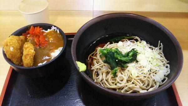 「九州産若鶏のミニチキンかつカレー丼セット」@箱根そば 本陣の写真
